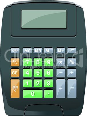 Beautiful Vector Calculator with orange green purple buttons