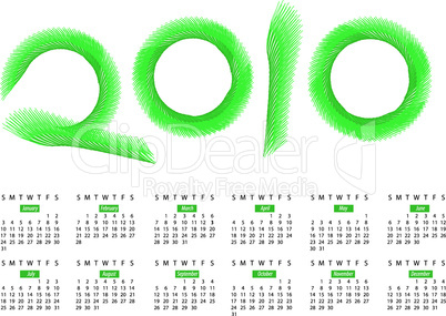 Calendar for year 2010, in vector format
