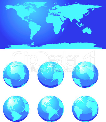 Vector glass globe. No transparency.