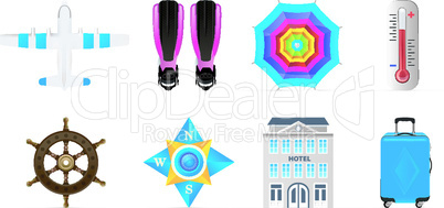 Vector Travel icons set isolated on white background.