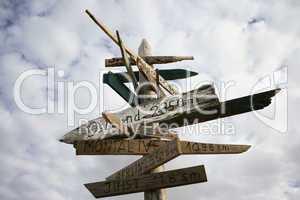 Entfernungsschilder aus Holz