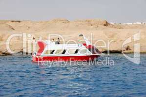 Recreational boat near Red Sea reef, Sharm el Sheikh, Egypt