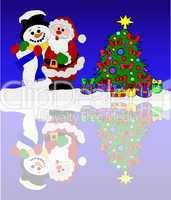 schneemann und weihnachtsmann am gefrorenen see