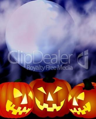 illustration - halloween kürbisse bei vollmond