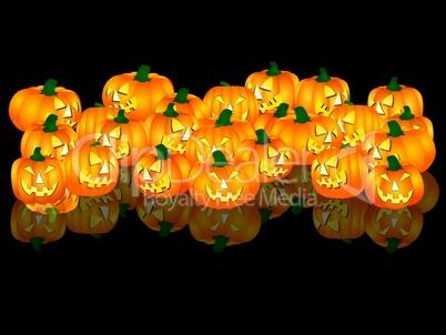 illustration - halloween kürbisse - schwarzer hintergrund