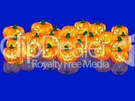 illustration - halloween kürbisse - blauer hintergrund