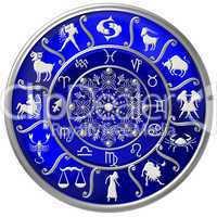 Blaue Horoskopscheibe mit Sternzeichen Symbolen
