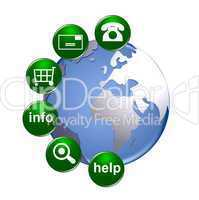Illustration - globus mit kontakt buttons