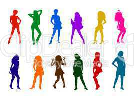illustration - bunte frauen silhouetten