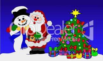 Weihnachtsmann und Schneemann am geschmückten Baum