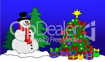Schneemann am geschmückten Baum