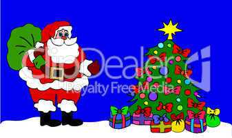 Weihnachtsmann am geschmückten Baum