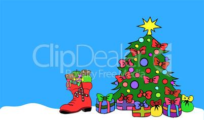 hintergrund mit weihnachtsbaum und nikolausstiefel