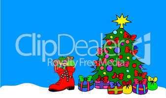 Gefüllter Stiefel und geschmückter Weihnachstbaum
