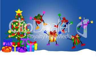 Springende Geschenke neben geschmücktem Weihnachtsbaum