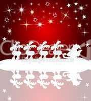 Hintergrund Weihnachtsmann mit Schlitten am gefrorenen See