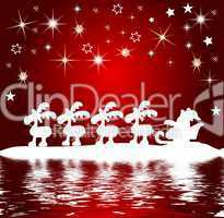 Hintergrund Weihnachtsmann mit Schlitten am Wasser