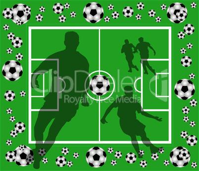 fussballfeld mit spielern