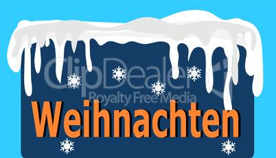 blaues weihnachtsschild mit schneehaube