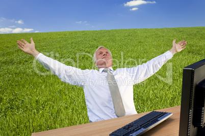 Successful Businessman In A Green Field
