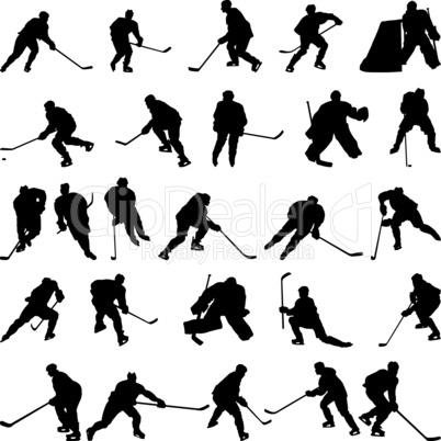 hockey silhouettes set