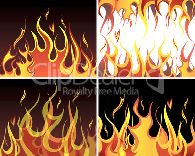 fire backgrounds set