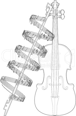Vector illustration violine with note