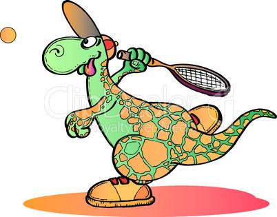 Dino spielt Tennis