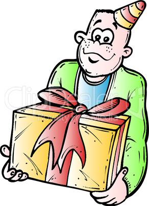 Mann mit dem Geschenk