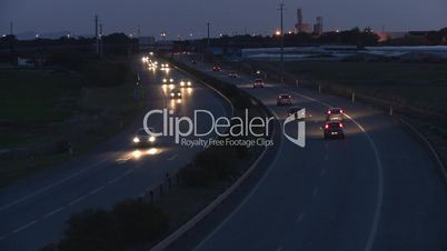 Time lapse of highway at sunset