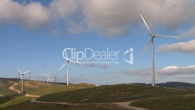 Wind power turbines in the mountains