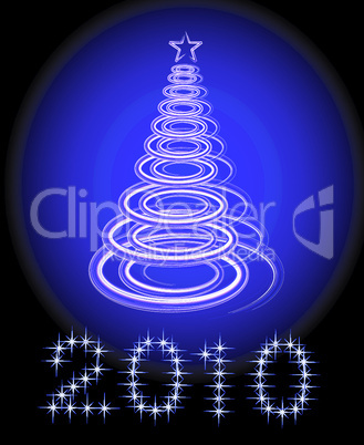 Christmas tree vector on black background. No transparency and effects.