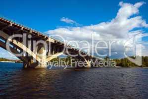 Kyiv, Ukraine. Bridge via Dnipro river