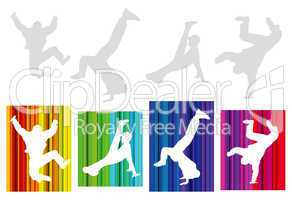 hip-hop silhouette on abstract background
