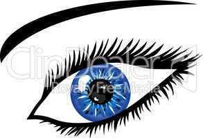 Blaues Auge mit Wimpern