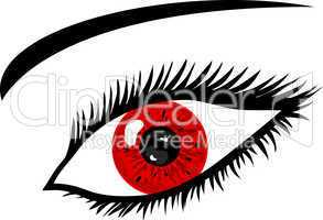 Rotes Auge mit Wimpern