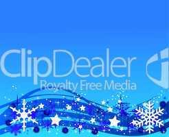 Hellblauer Weihnachtshintergrund mit Eiskristallen