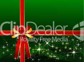 Grüner Weihnachtshintergrund mit Geschenkschleife