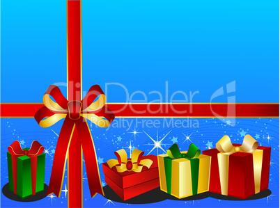 Hellblauer Weihnachtshintergrund mit Geschenken und Schleife