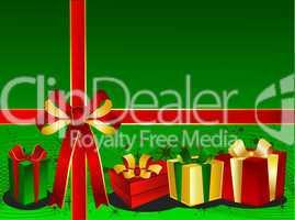 Grüner Weihnachtshintergrund mit Geschenken und Schleife