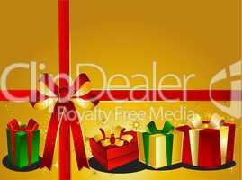 Goldener Weihnachtshintergrund mit Geschenken und Schleife