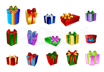 Set mit bunten Geschenken