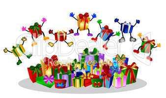 Springende Geschenke auf weissem Hintergrund