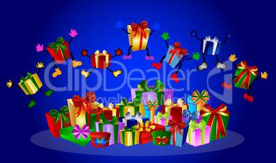 Springende Geschenke auf blauem Hintergrund
