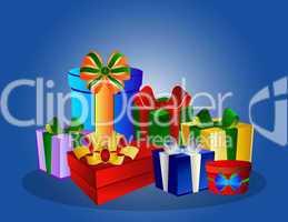 Bunte Geschenke auf blauem Hintergrund