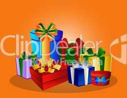 Bunte Geschenke auf orangem Hintergrund