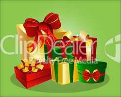 Bunte Geschenke auf grünem Hintergrund