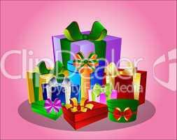 Illustration Bunte Geschenke auf rosa Hintergrund