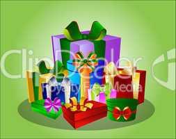 Illustration Bunte Geschenke auf grünem Hintergrund