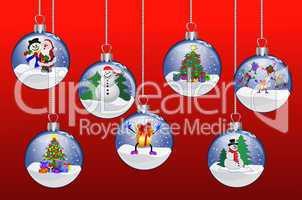 Illustration - Weihnachtskugeln auf rotem Hintergrund